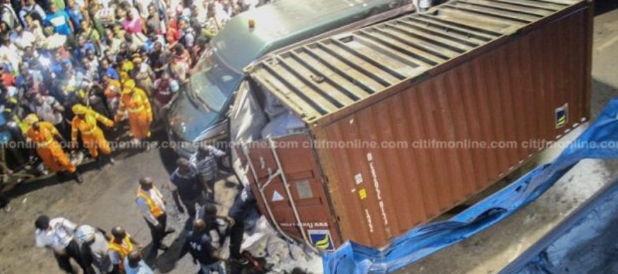 3 injured as container truck falls off Nkrumah Circle interchange