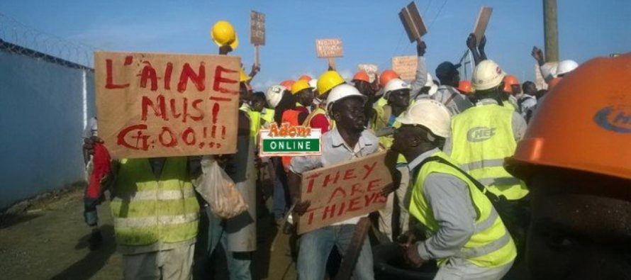 Tema Port Expansion Project Workers protest against poor working condition