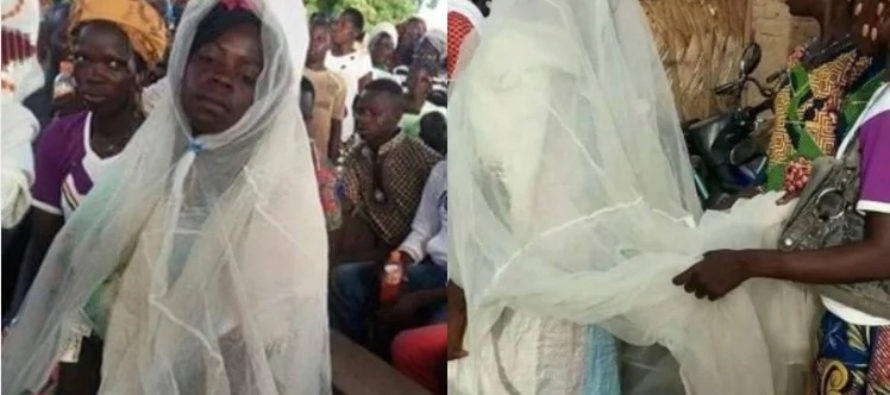 Poor bride designed her own wedding gown with a mosquito net