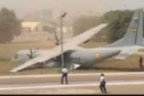 Airforce aircraft overruns apron in routine engine run