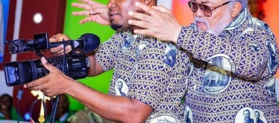 Ex-President Jerry John Rawlings directs cameraman on set